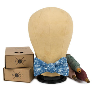 Blue Floral Bow Tie Made in Canada
