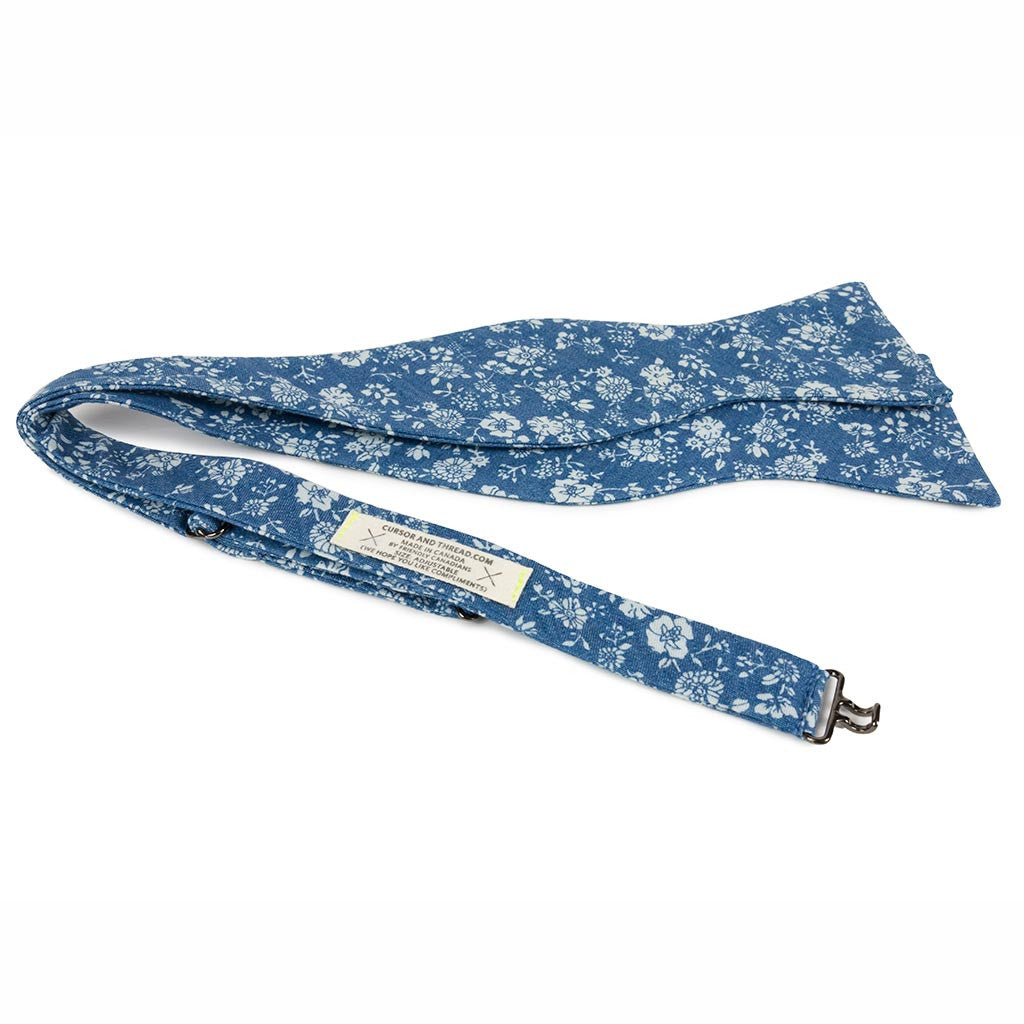 Blue & white floral self tie bow tie