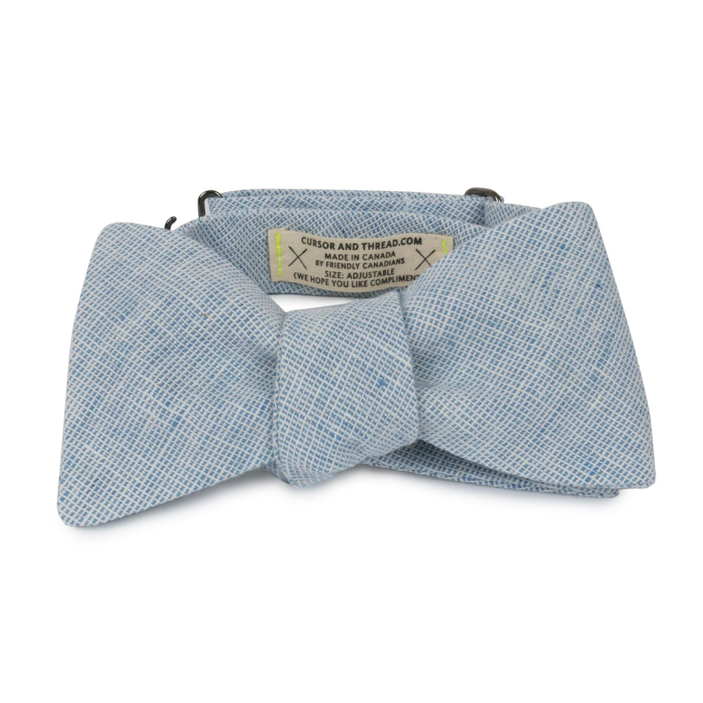 Blue Linen Bow Tie Made in Canada