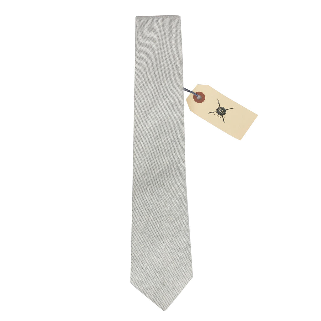 Hatch Linen Check Grey Necktie Made in Canada