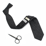 Chambray black polka dot necktie