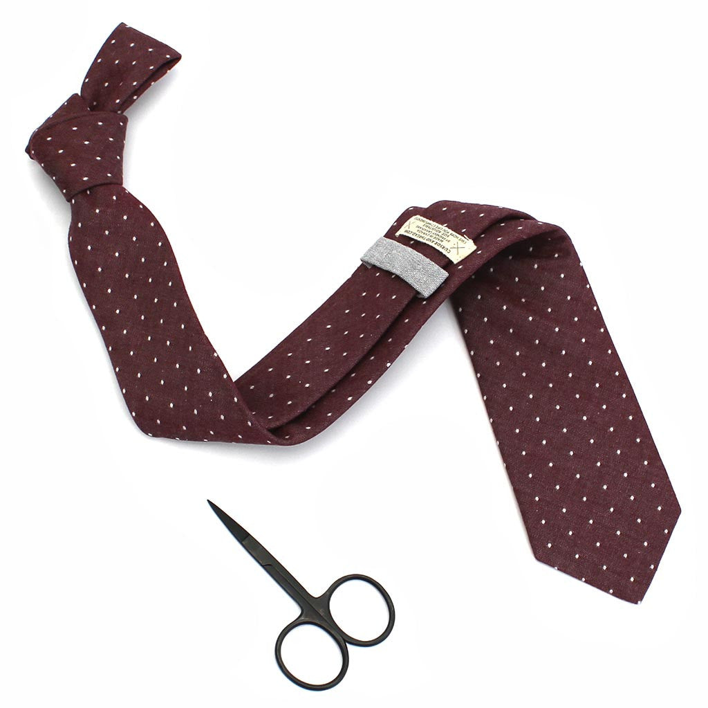 Chambray red polka dot necktie