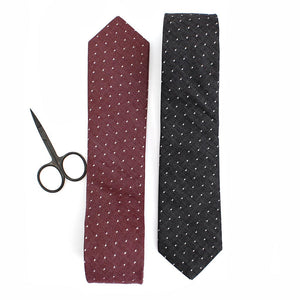 Chambray polka dot necktie charcoal and red