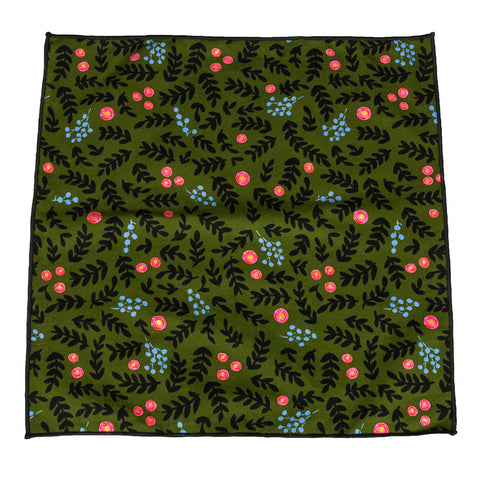 green floral pocket square