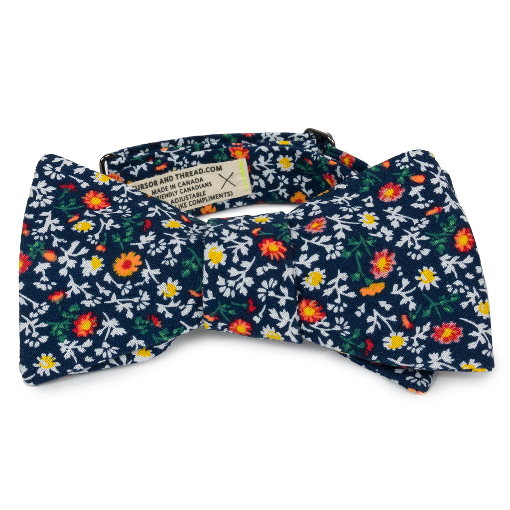 Marigold Navy Floral Cotton Bow Tie Made in Canada