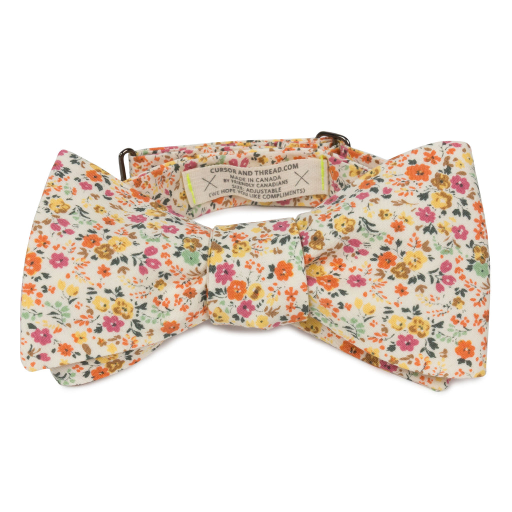 Japanese cotton floral bow tie made in Canada Nantes Peche