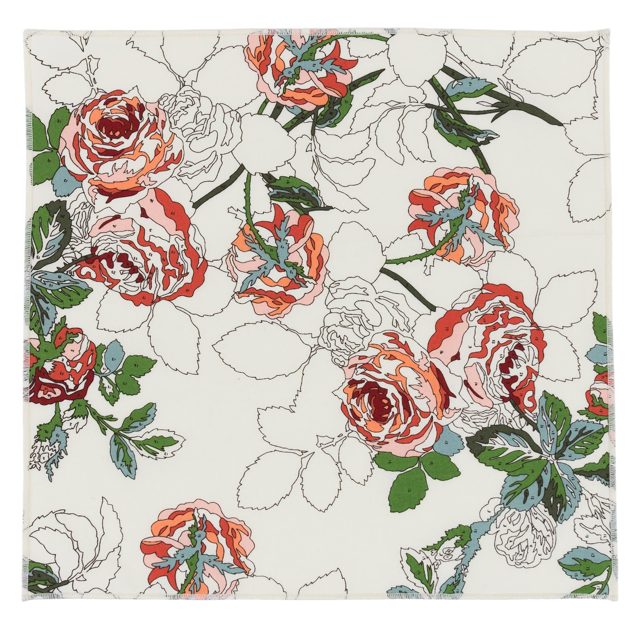 Paint by Numbers Rose Floral Pocket Square