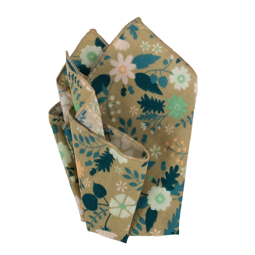 Taupe Floral Pocket Square