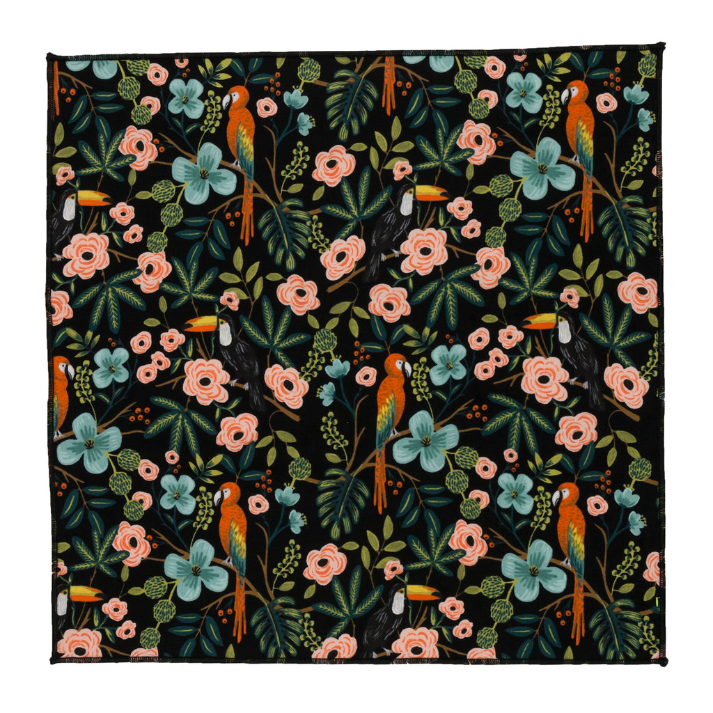 parrot polly black pocket square japanese fabric made in Canada