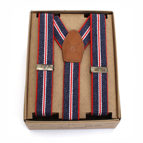 "Oliver 1"" Red, White & Blue Suspenders"