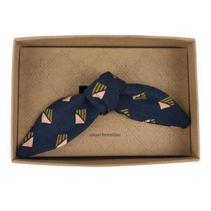 Regal Navy Organic Cotton French Knot Bow Tie