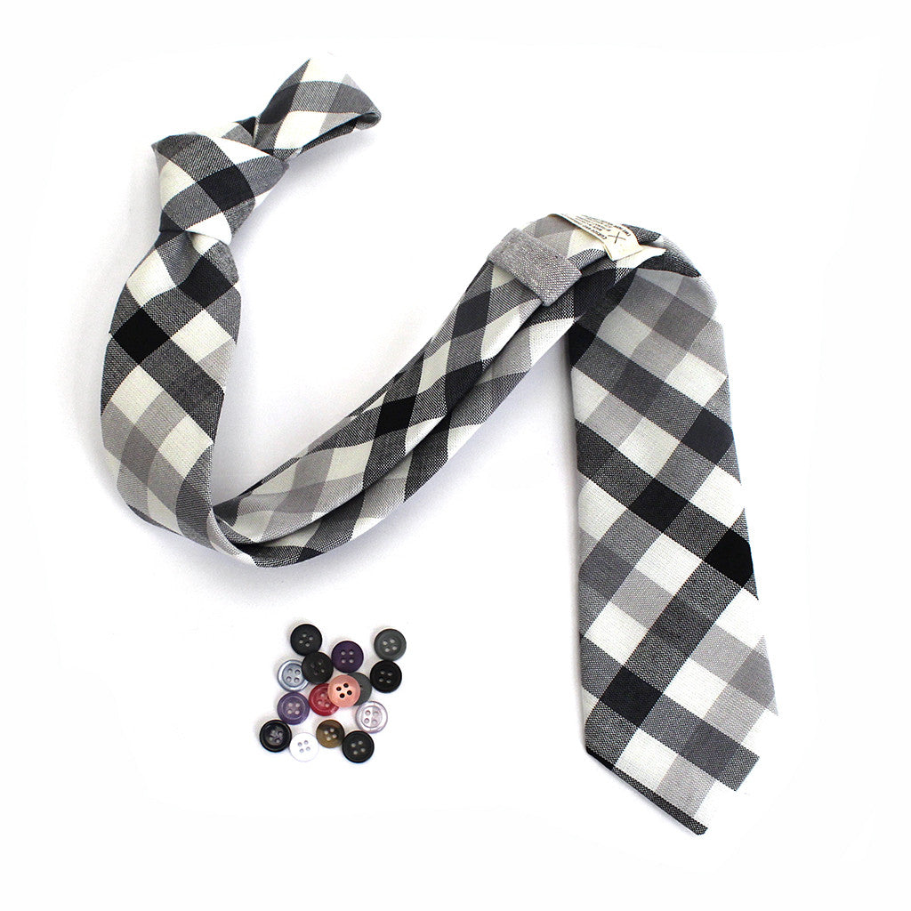 Black and White Plaid Tie