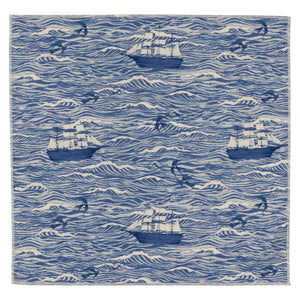 Swell Ships Blue Japanese Cotton Pocket Square Made in Canada
