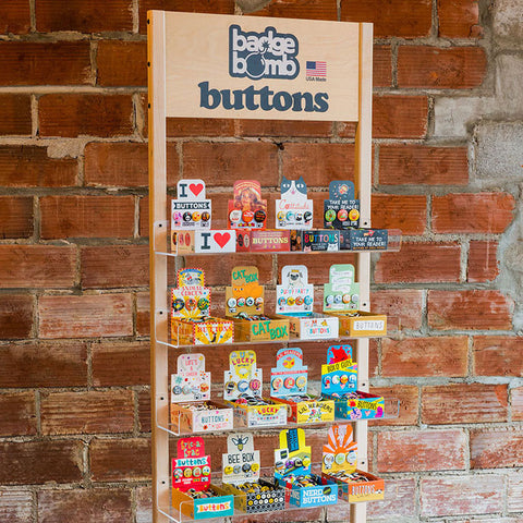 16 Button Box Wooden Floor Display