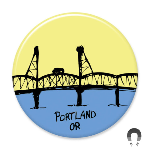 Hawthorne Bridge Magnet by Badge Bomb