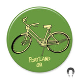 Green Bike Portland Oregon Big Magnet