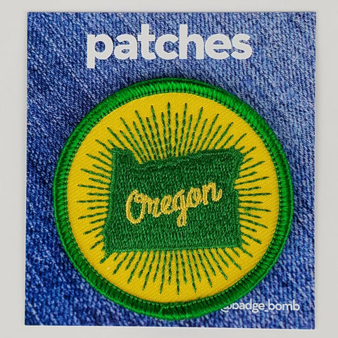 Oregon Sunburst Iron-On Patch by Badge Bomb