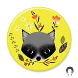 Woodland Racoon Magnet Badge Bomb