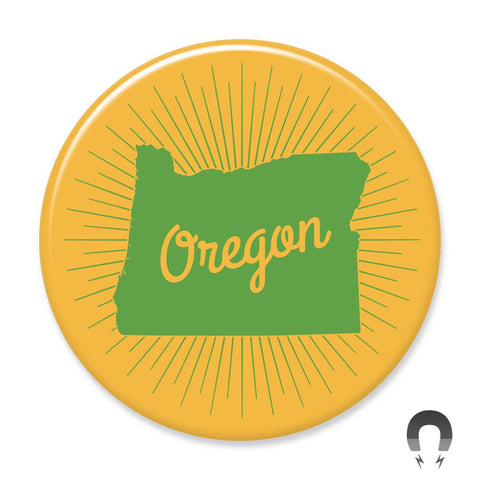 Oregon State- Green and Gold Sunburst Magnet by Badge Bomb
