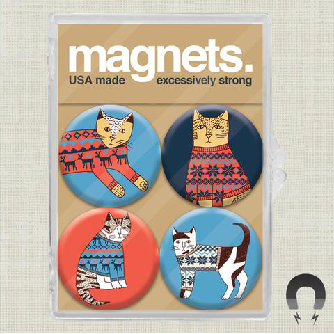 Holiday Sweater Cats Magnet Pack by Kate Sutton