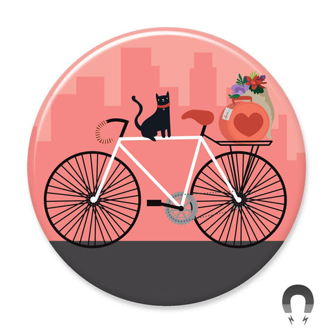 Cat on a Bike Big Magnet