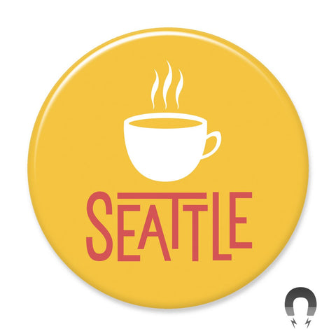 Gold Seattle Coffee Washington Big Magnet
