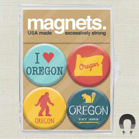 Oregon Gold Magnet Set by Badge Bomb
