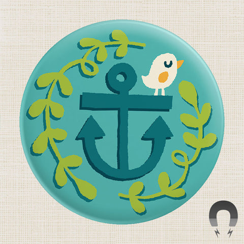 Bird on Anchor Big Magnet by Allison Cole