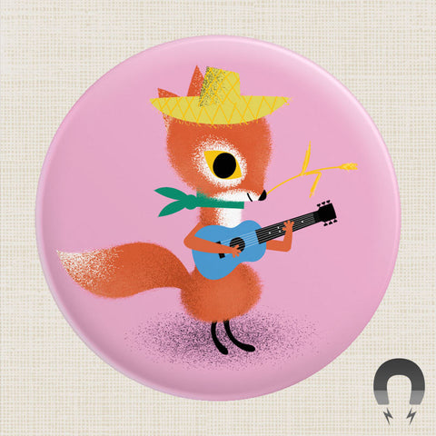 Badge Bomb Acoustic Fox Magnet by Daniel Roode