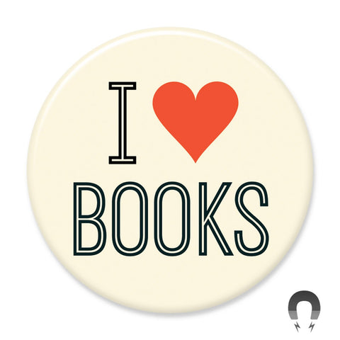 I Heart Books White & Black Big Magnet by Crossroads Creative