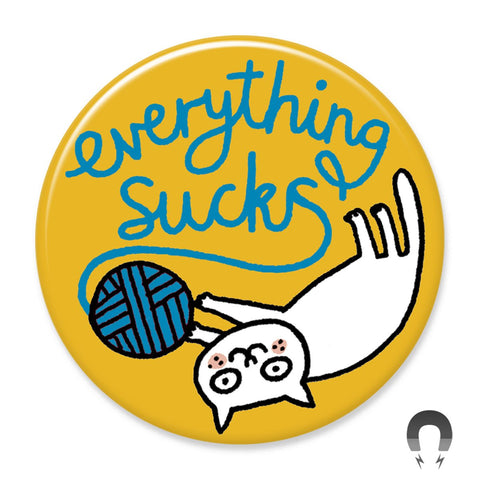 Everything Sucks Yarn Cat Big Magnet by Gemma Correll