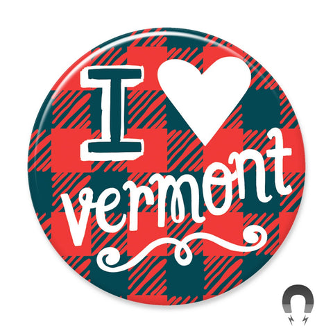 I Heart Vermont Flannel Big Magnet