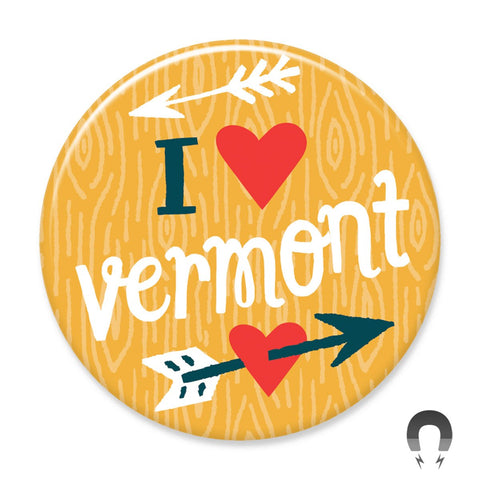 I Heart Vermont Arrow by Allison Cole and Badge Bomb
