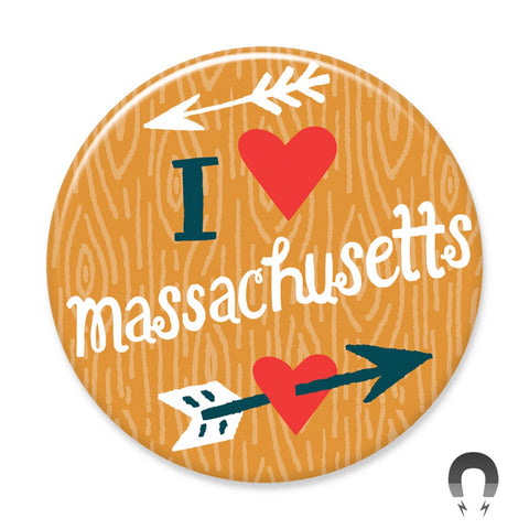 I Heart Massachusetts Arrow Big Magnet