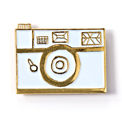 White Retro Camera Enamel Pin