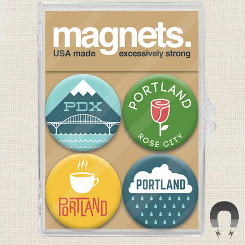 Made In Oregon Portland Rose City Magnet Pack by Badge Bomb