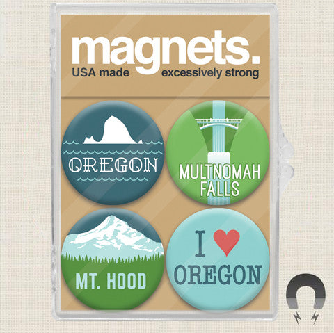 Made In Oregon Mt Hood Magnet Set by Badge Bomb