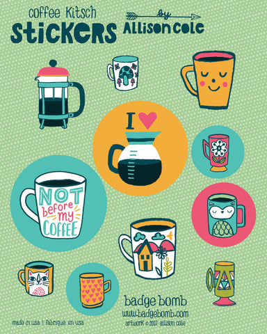 Coffee Kitsch Stickers by Allison Cole