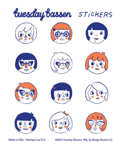 Girl Heads Stickers