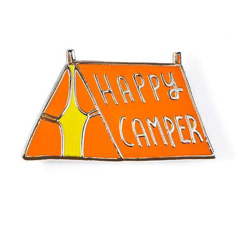Happy Camper Orange Tent Enamel Pin