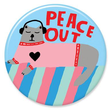 Peace Out Cat Button by Lisa Congdon