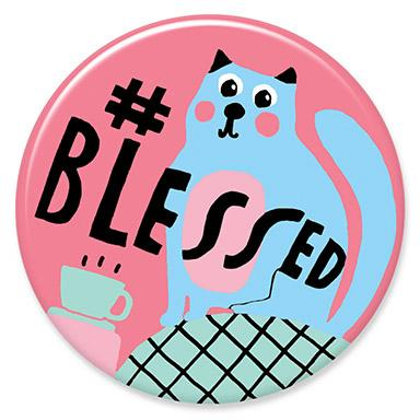 Blessed Cat Button by Lisa Congdon