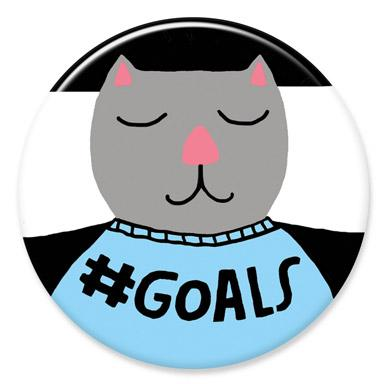 Goals Cat Button by Lisa Congdon