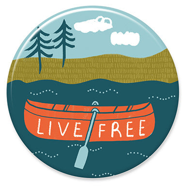 "Live Free Canoe 1.25"" Button"