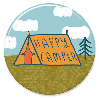 "Happy Camper Tent 1.25"" Button"