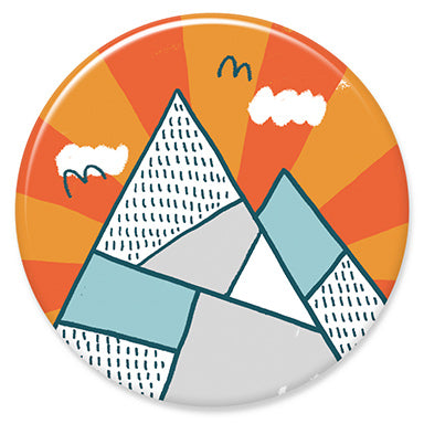 "Mountains Orange 1.25"" Button"