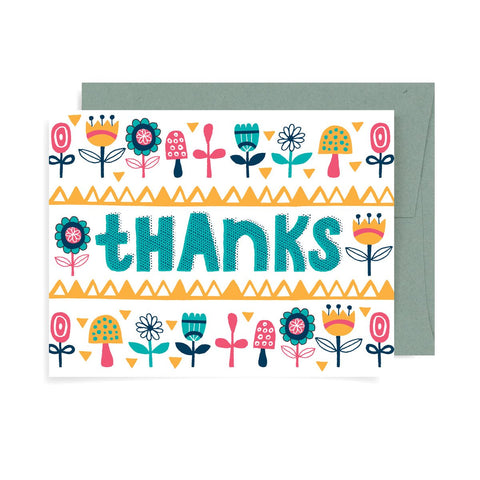 Thanks Floral Pattern A2 Card