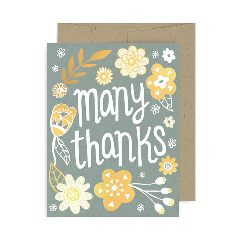 Many Thanks Flowers A2 Card