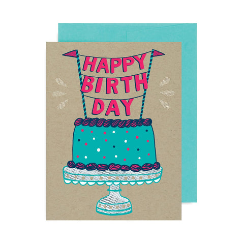 Happy Birthday Cake A2 Card