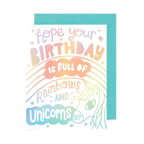 Birthday Rainbows and Unicorns A2 Card